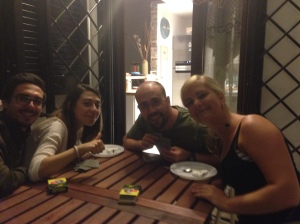 hanging out with some of matteo's large group of friends - chiappa, giorgia, andrea and me :)